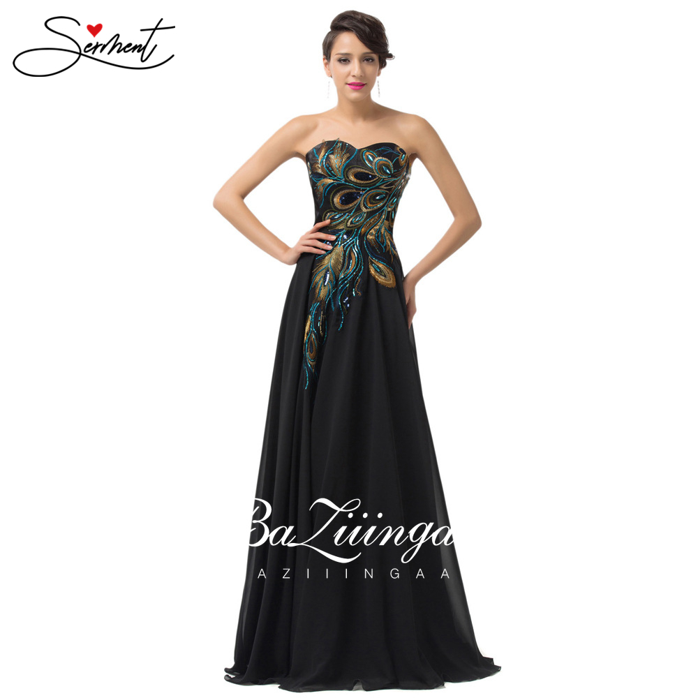 OLLYMURS Vintage Peacock Embroidered Pattern Evening Dress Boat Chiffon Suitable for Formal Evening Graduation Party Occasion