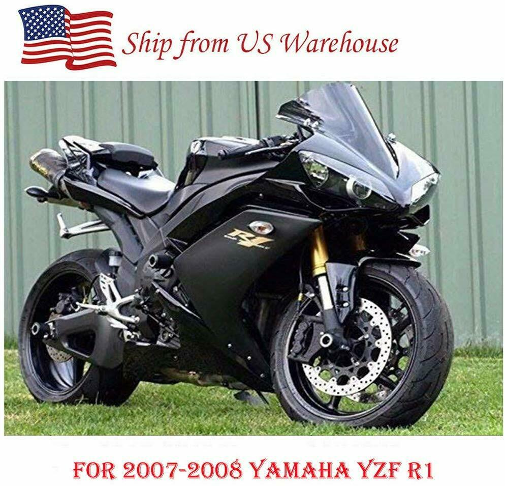 Gloss Matte Black with Gold Full <font><b>Fairing</b></font> Kit Injection Bodywork for <font><b>Yamaha</b></font> YZF <font><b>R1</b></font> YZF1000 YZF-<font><b>R1</b></font> <font><b>2007</b></font> 2008 YZFR1 Motorcycle Part image