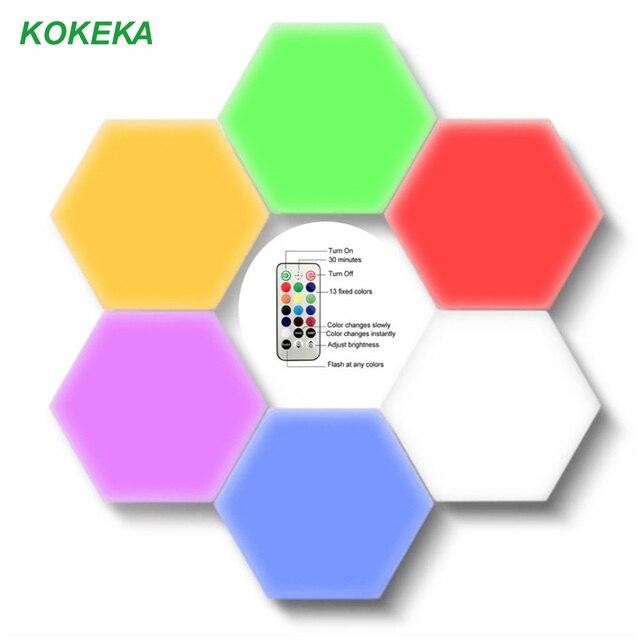 여러 가지 빛깔의 기하학 Led 육각 패널 양자 램프 터치 민감한 조명 모듈 형 및 이동식 DIY 크리 에이 티브 장식