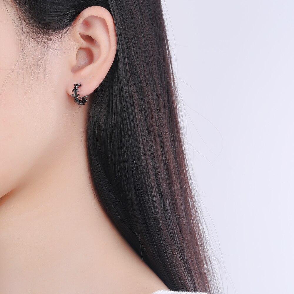 NEHZY 925 en argent Sterling nouvelle femme bijoux de mode de haute qualité noir Thai argent rond boucles d'oreilles Simple rétro boucles d'oreilles 4