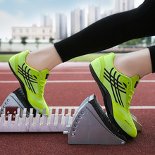 Men Track Spikes Breathable Mesh Track Shoes for Athletics Racing Distance Sprint Running Race Spike Cleat Nail Shoes(China)