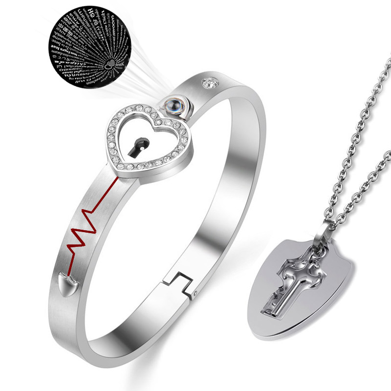 Matching Puzzle Couple 100 Languages I Love You Projection Heart Lock Bracelet and Key Pendant Necklace for Lover Jewelry Gift(China)