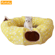 Petshy Pet Tunnel Cat Bed House Puppy Small Dog Cats Bed With Ball Play Long Tunnel Pet Toy House Interactive Cat Supplies