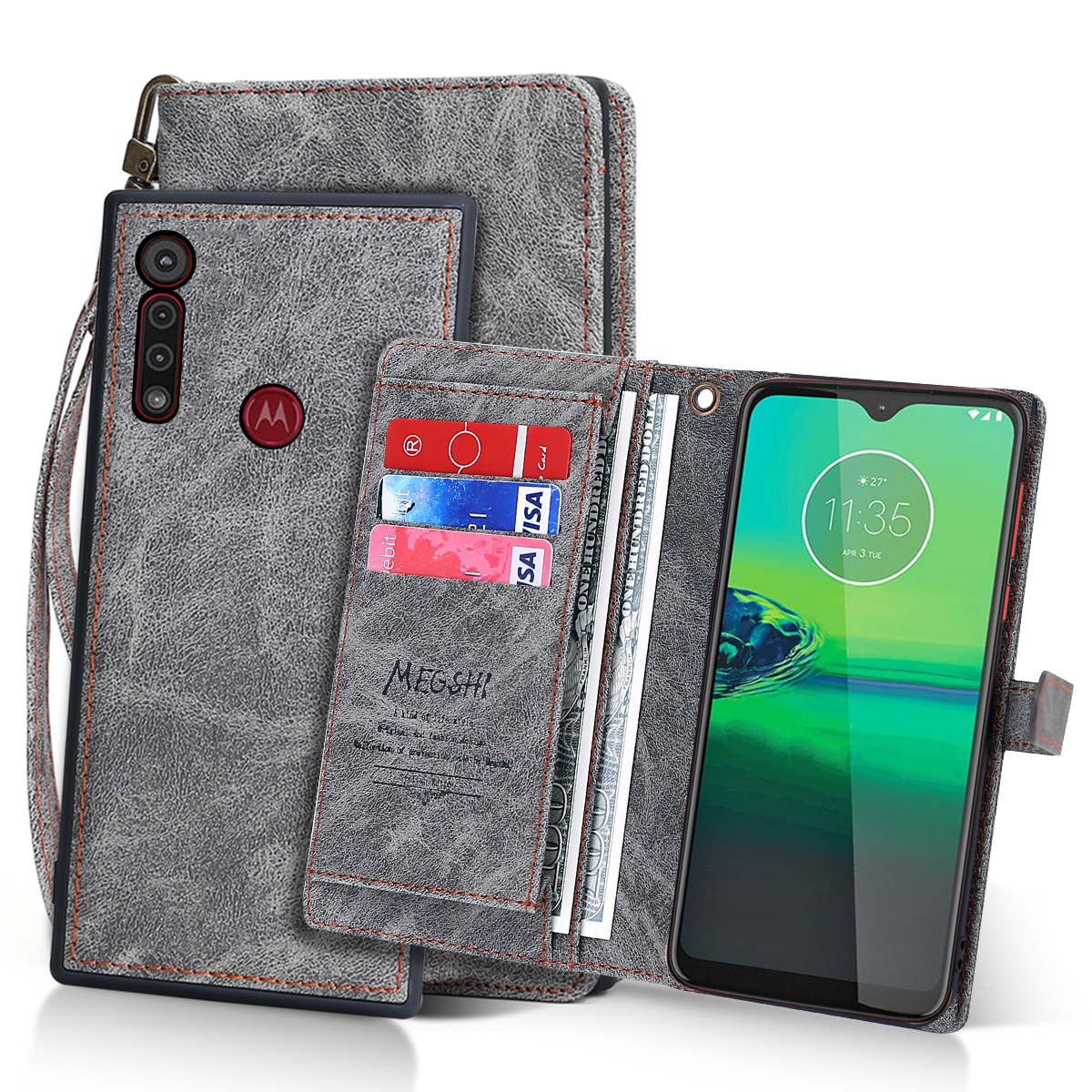 Card Case For Motorola Moto G8 Plus PU Leather Case Detachable Magnetic Flip Stand Wallet Cover Moto G8 Play Case Shockproof