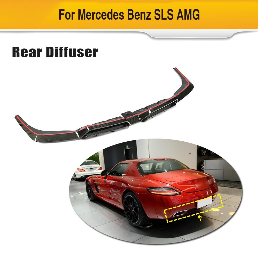 Auto Car Rear Bumper Diffuser Lip Spoiler For Mercedes-Benz SLS Class SLS63 AMG 2010-2013 Carbon Fiber Car Spoiler