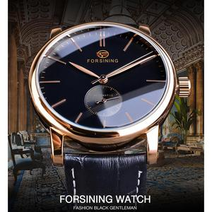 Image 2 - Forsining Simple Men Mechanical Watch Automatic Sub Dial Black Ultra thin Analog Genuine Leather Band Wristwatch Horloge Mannen
