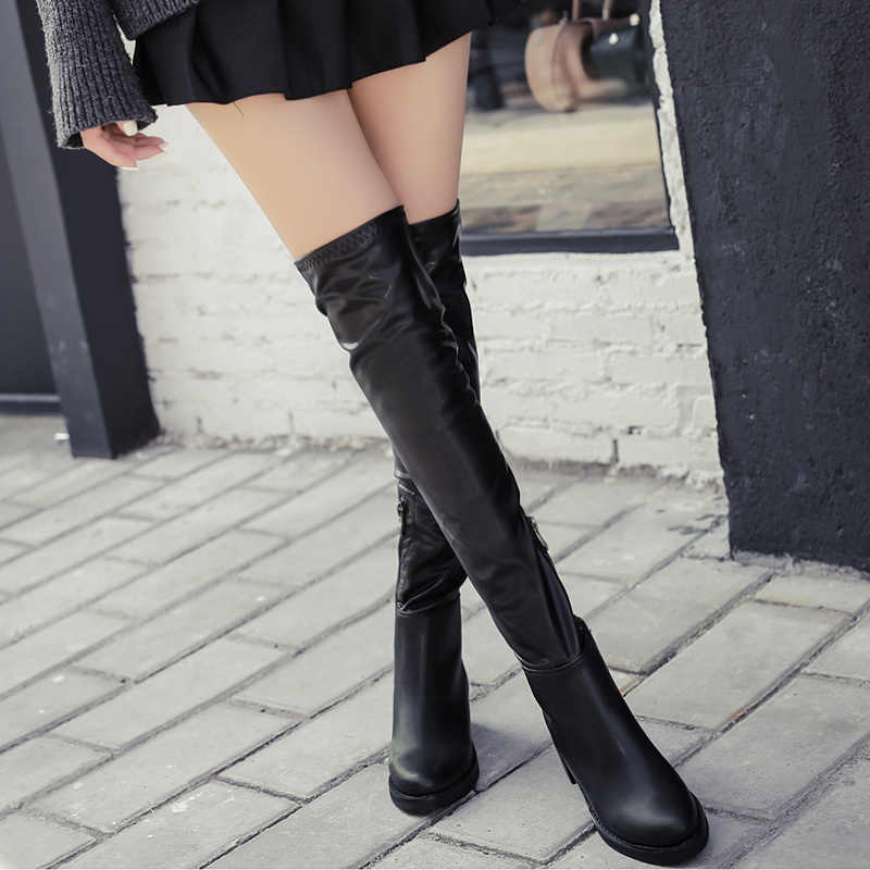 Sexy schwarze stiefel Patent Leder Stiefel Frauen Herbst Winter Kniehohe Stiefel Damen Mode Starke Ferse Runde Kappe Lange Stiefel YMA962
