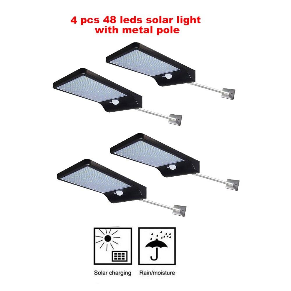 2/4pcs 48 LED Chip Solar Light PIR Motion Sensor Wireless Solar Lamp Outdoor Waterproof Garden Wall Yard Deck Security LED Light