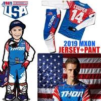 2019 STREAM FOX Motocross Gear MX USA Team Suit 4 Way stretch Dirt Bike Gear Set Off Road atv Moto Jersey And Pant