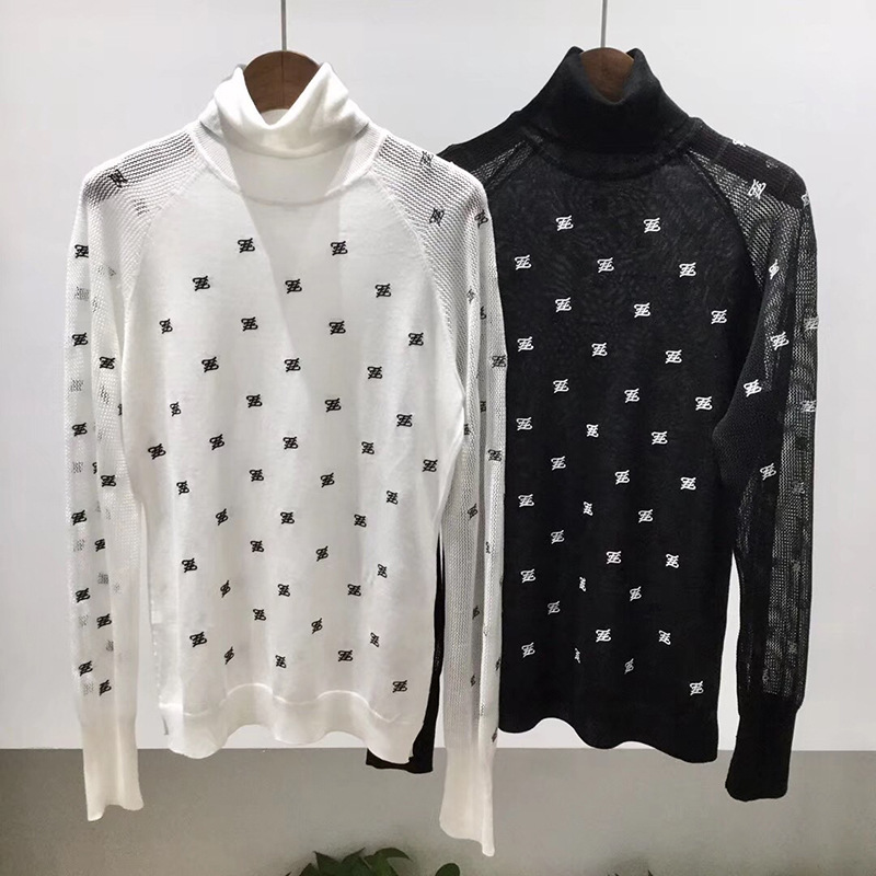 2019 Fall And Winter High Neck Hollow Out Long Sleeve Women High End Embroidery Bottoming Sweater Top