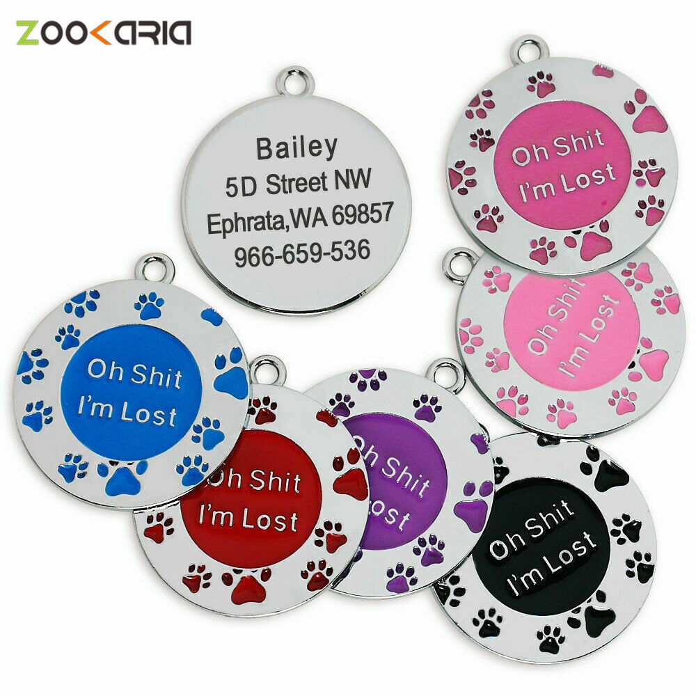 Anti-lost Dog Medal With Engraved Pet Badge Products Laser Engravable Identity Card Zinc Alloy Dogs Tag For Cat Pets Accessories