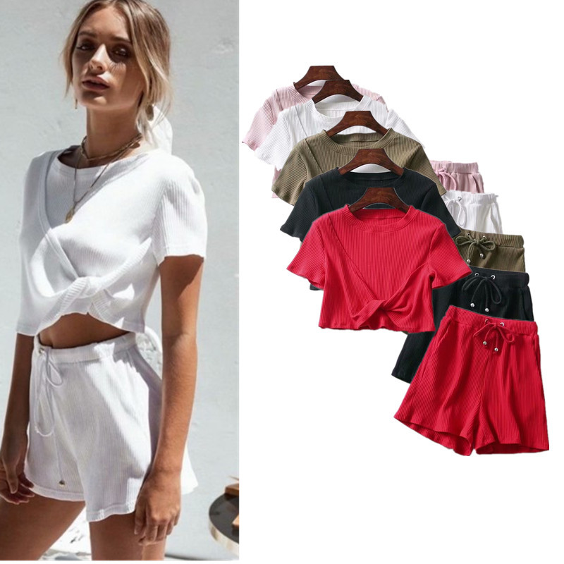 Western Style 2018 Summer New Style Holiday Beach Solid Color Short Sleeve + Article Knitted Shorts Fashion Set J8263