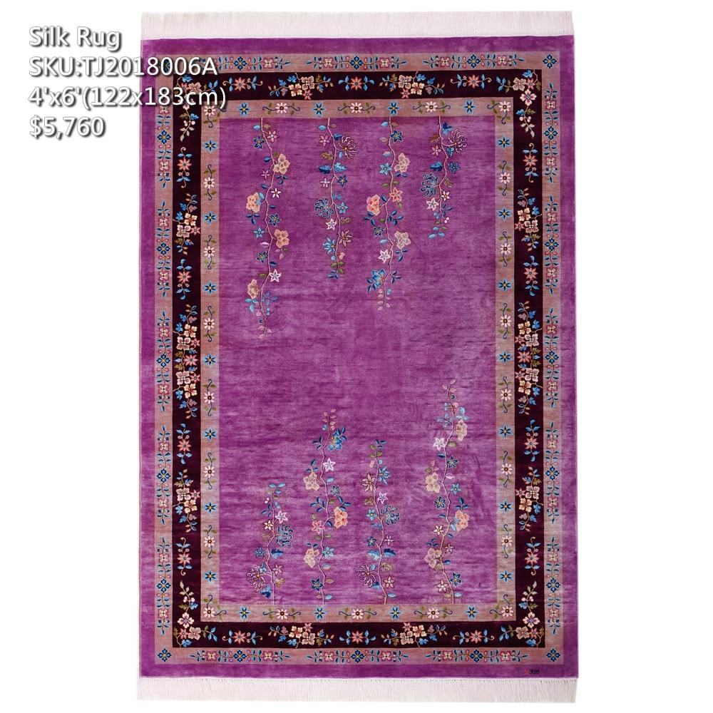 YILONG 4'x6 'fait à la main art chinois décoration tapis de soie couleur riche tapis de maison