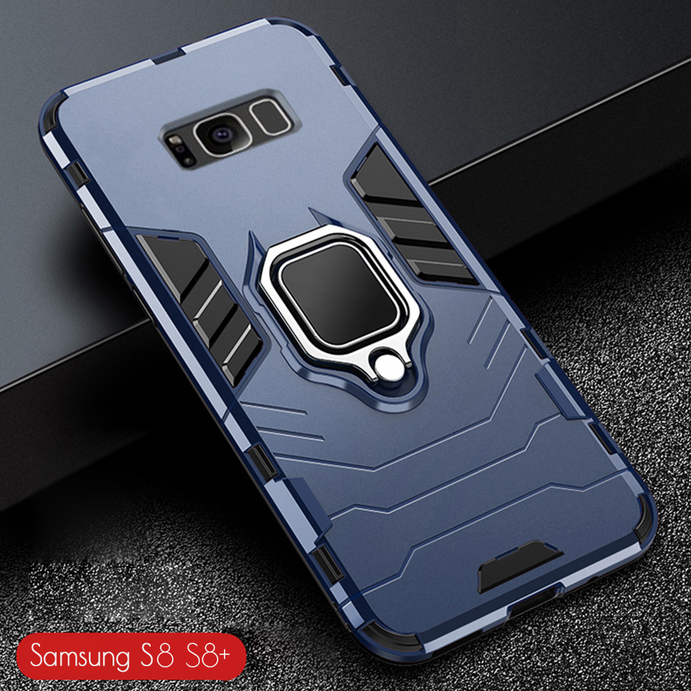 Do Samsung Galaxy S8 + obudowa pancerz PC pokrywa metalowy uchwyt pierścienia etui na telefon do Samsung S 8 S8 Plus pokrywa odporny na wstrząsy twardy zderzak