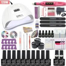 Conjunto de manicure para unhas kit de manicure, conjunto com 10 cores de verniz em gel 120w/80w/54w uv kit máquina de broca e extensão de unhas