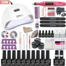 Manicure Set For Nail Kit 120W/80W/54W UV Lamp 10 Color Gel Varnish Set Nail Drill Machine Kit Nail File Tool Nail Extension Set