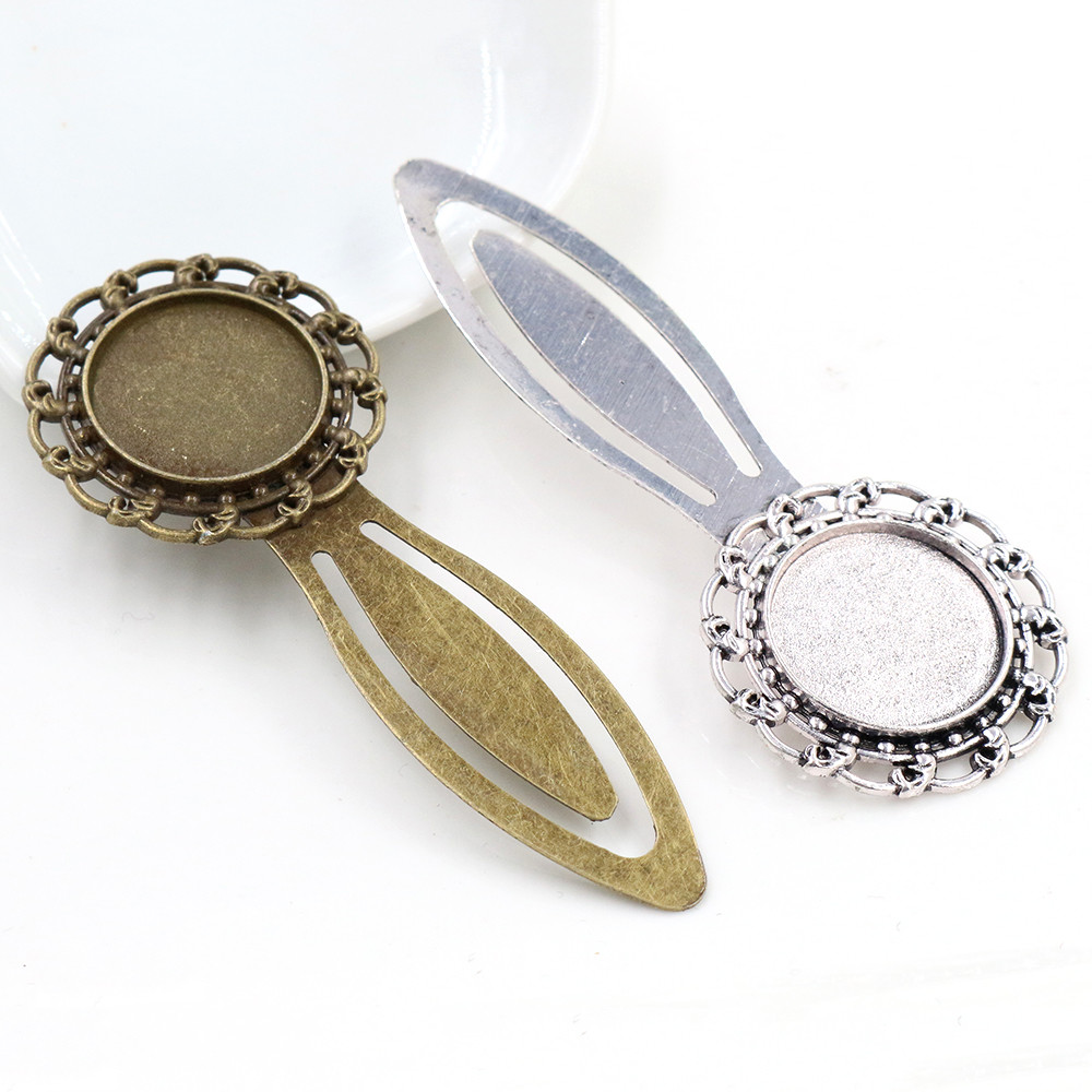 New Fashion 2pcs 20mm Inner Size Antique Silver Plated Bronze Style Handmade Bookmark Cabochon Base  Cameo Setting