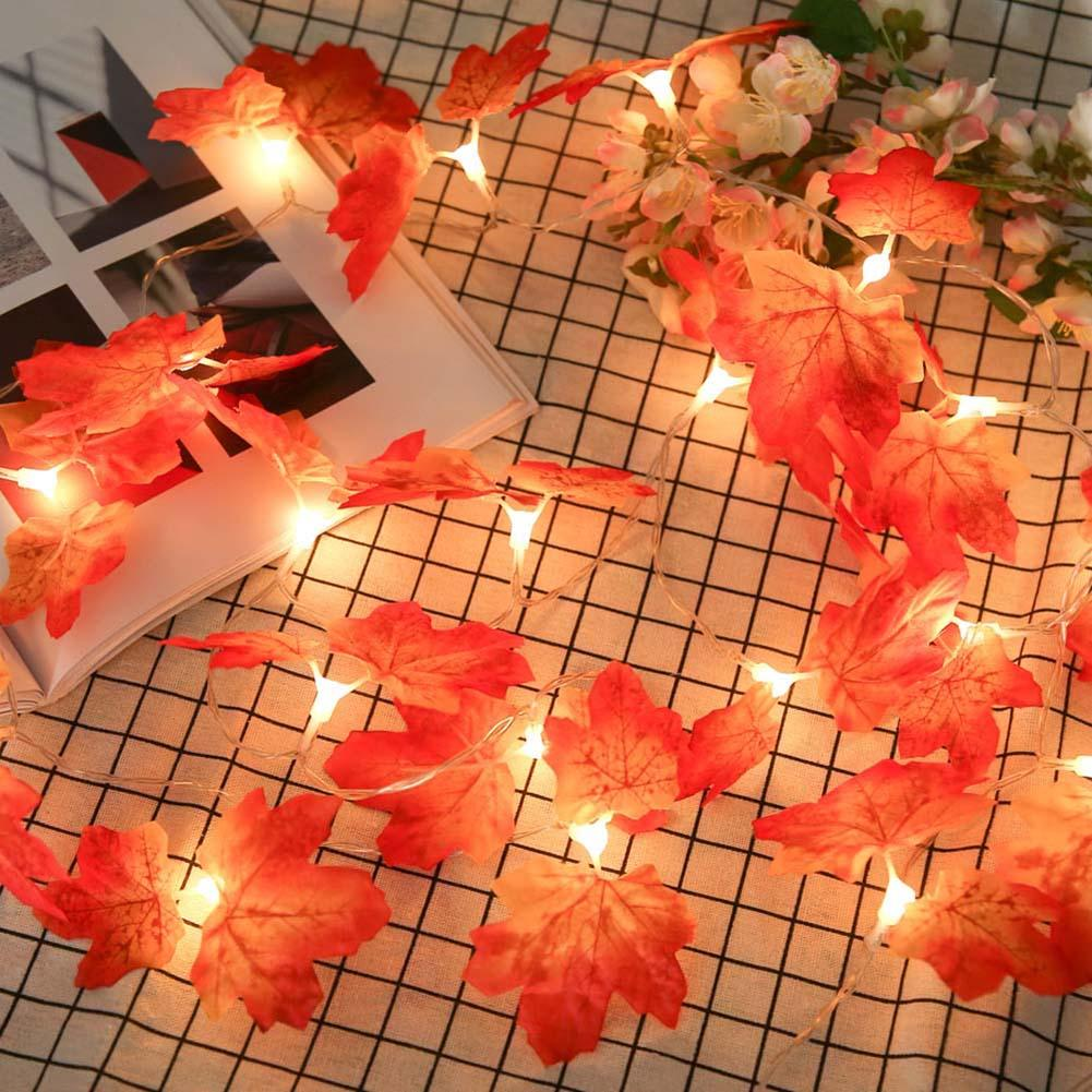 2m Maple Leaf Shaped Fairy Strings Battery Powered 20LED LED String Lamps Lighting For Party Home Wedding Decorations