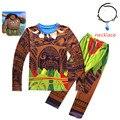 С рисунком героев мультфильма «Моана»; Одежда для мальчиков; Хлопковые пижамы комплект костюм в стиле Мауи комплект из 2 предметов для мален...