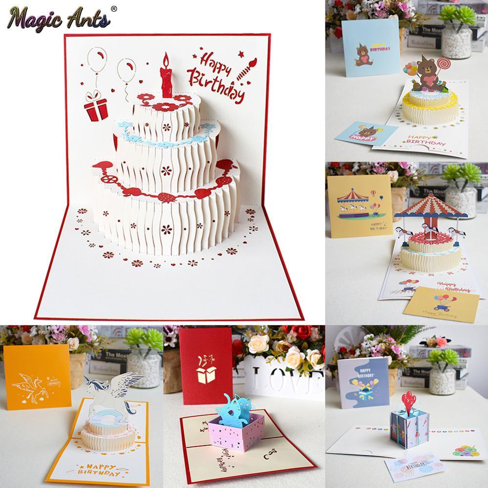 3D всплывающие карты открытка на день рождения для девочки дети жена муж день рождения торт поздравительные открытки подарки открытка с кон...