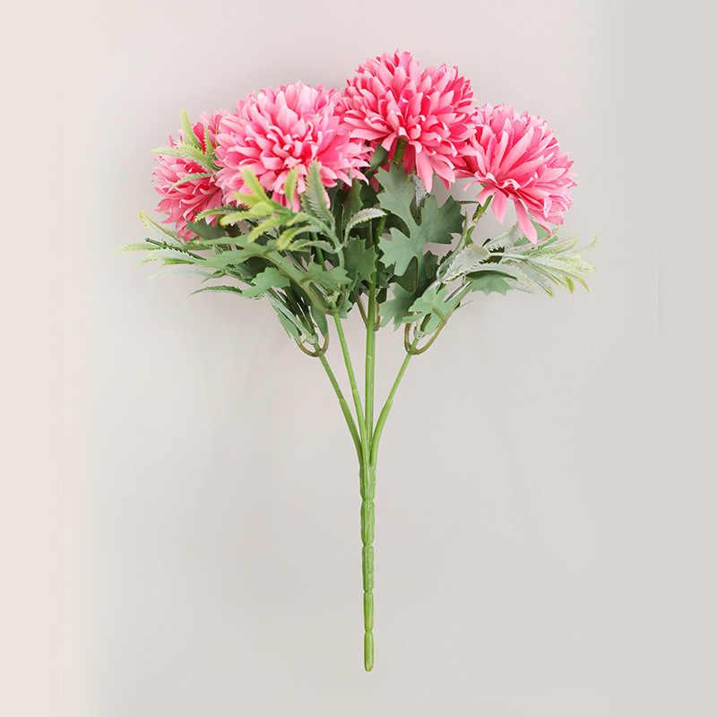 Chrysanthème artificiel simulé fausse fleur 5 tête boule maison Bouquet chambre fête mariage boutique hôtel décorations