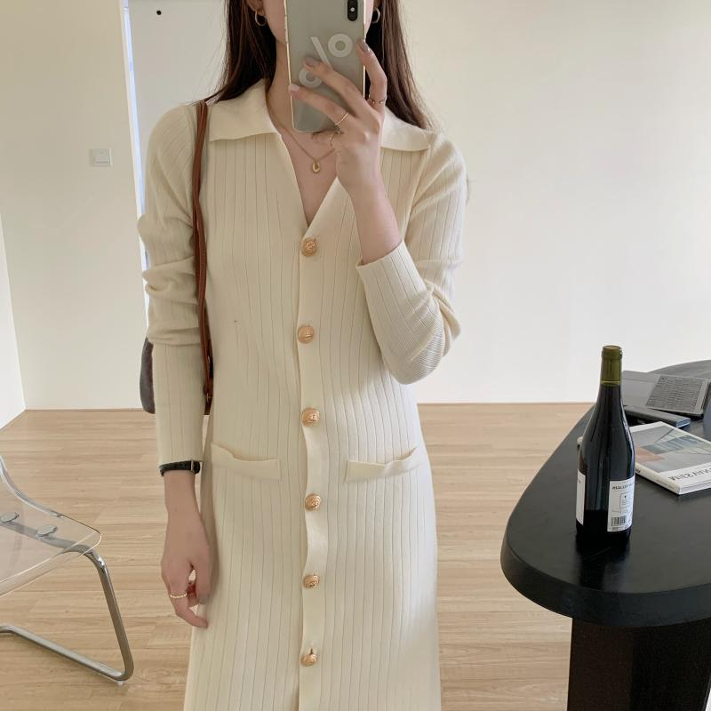 H00550de534be417e95622da3f53aeae1P - Autumn Turn-Down Collar Soft Slim Solid Long Sweater Dress