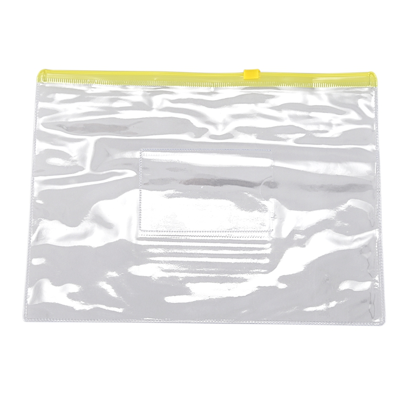 Size A5 Card Slider Zip Closure Folders PVC Folders Envelopes, 20 Pieces Transparent Yellow