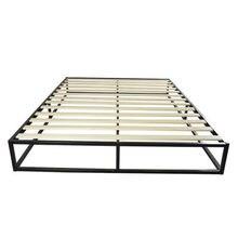 Metal karyola iskeleti basit temel demir yatak kraliçe siyah güçlü inşaat katı ahşap destek montajı kolay şık Modern