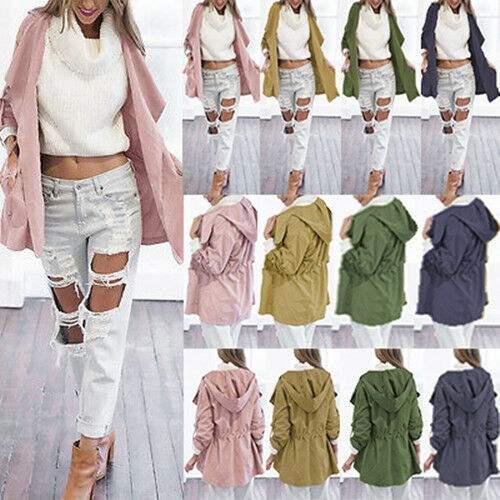 Fashion Womens Ladies Stylish Solid Color Lace Up Open Hooded Hoodies Long Coat Jacket Cardigan Windbreaker Trench Parka Outwear