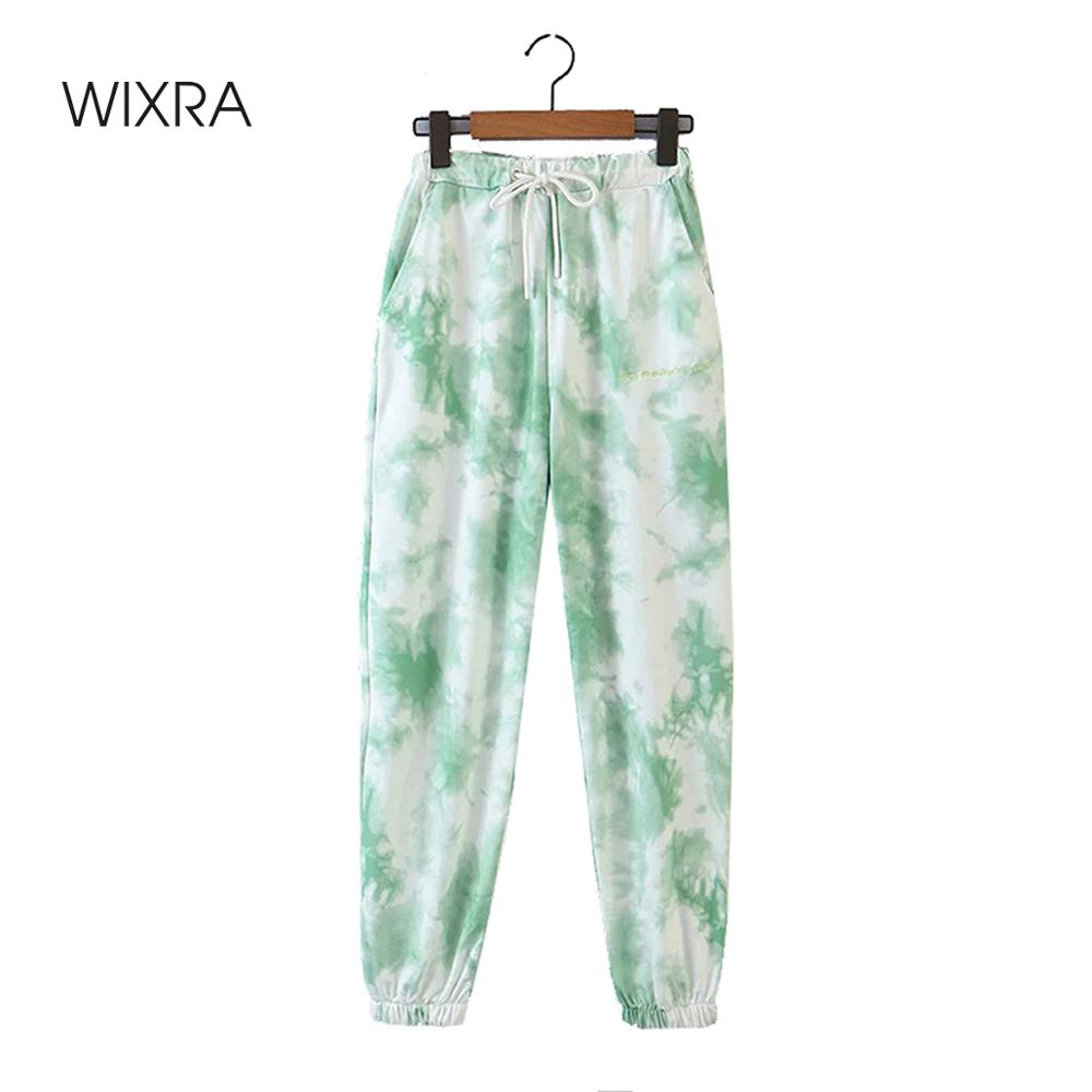 Wixra Womens Pants Spring Autumn Elastic Waist Streetwear Casual Loose Drawstring Tie-dye Pants Sportswear For Women