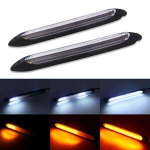 2pcs Universal Car LED Daytime Running Light Scan Waterproof Headlight Strip Sequential Flow Yellow Turn Signal White DRL Light