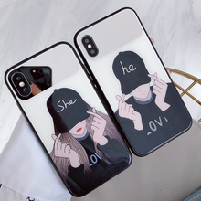 Toughened Glass Couple Phone Cases For iPhone 6 6S 7 8 X XR XS MAX Mirror Cute Lovely