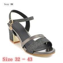 Women Gladiator Sandals Square High Heels Summer Pumps