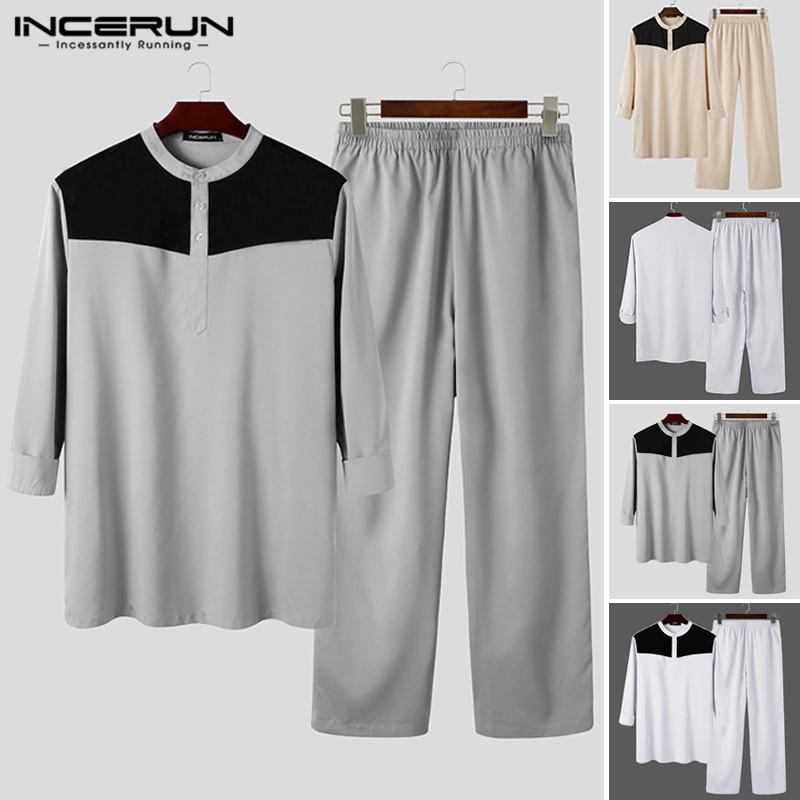 Mens Patchwork Islamic Suits INCERUN Vintage Muslim Caftan Sets Men Long Sleeve Buttons Blouse Elastic Waist Pants 2 Pieces 5XL7