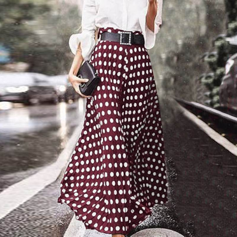 ZANZEA Women Vintage High Waist Polka Dot Skirts Summer Bohemian Long Skirts Casual Beach Party Vestido Faldas Saia Femme Jupe 7