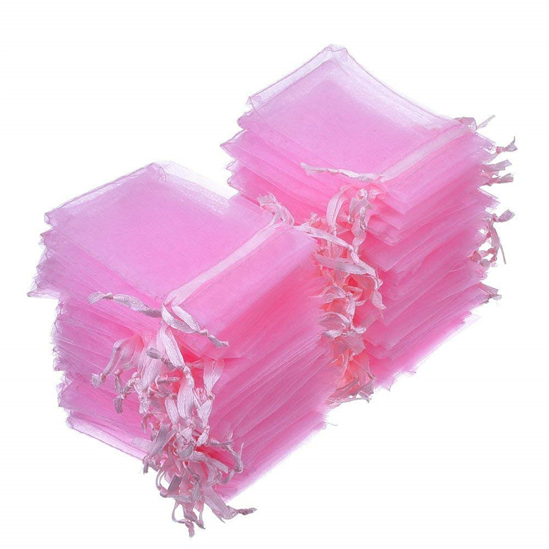 100Pcs Jewelry Bags Packing Drawable Pink Organza Bags 7x9 9x12 10x15 13x18 17x23cm Gift Bags Sachet Organza Wedding Decor