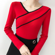 Korean Fashion Women Sweater Woman Knitted Sweaters V-neck OL Pullovers Sueter Mujer Invierno