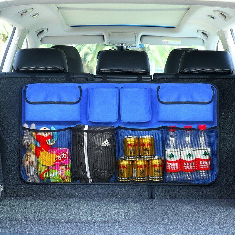 Car Rear Seat Back Storage Bag Multi Hanging Nets Pocket Trunk Bag Organizer Auto Stowing Tidying organizer for trunk