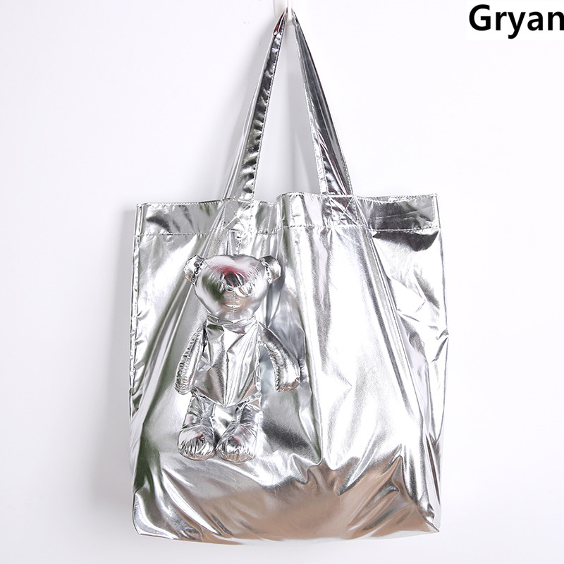 ECO Silver Bear Waterproof Tote Cotton Filling High-Quality Women Children Reusable Grocery High Capacity Shopping Bag