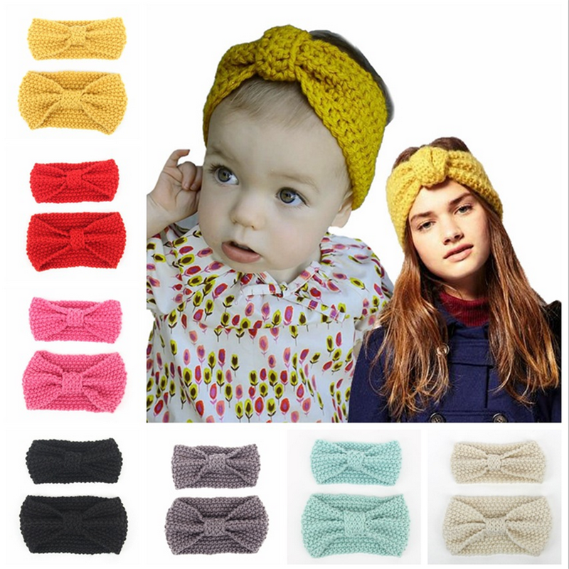 Bunvel 2PCS Winter Warm Ear Soft Headwrap Mommy And Girl Elastic Crochet Headband Knitted Bow Hairband Hair Band Accessories  Ff