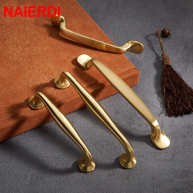 Brass Copper Cabinet Pulls Solid Kitchen Cupboard Door Handle Knobs Furniture