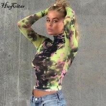 Hugcitar 2019 tie dye print high neck long sleeve crop tops autumn winter women streetwear outfits T-shirts