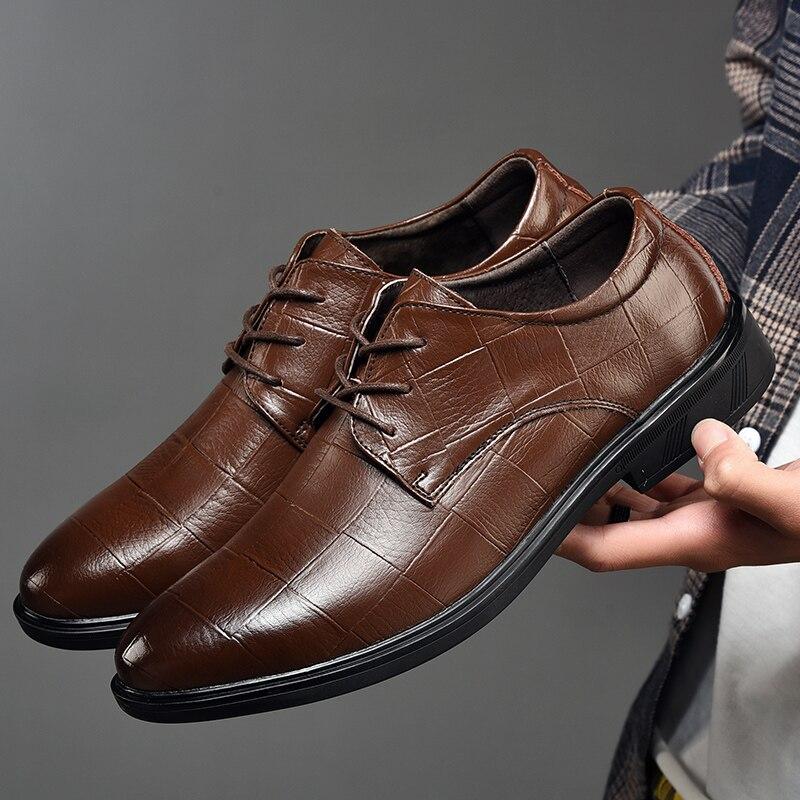 Homme chaussures en cuir véritable taille 37-47 hommes en cuir chaussures habillées respira basique chaussures décontractées hommes hauteur augmentant marque hommes chaussures