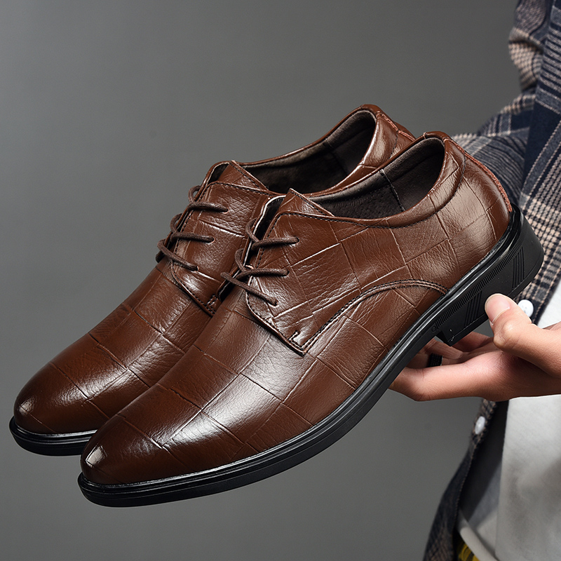 Man Shoes Leather Genuine Size 37-47 Men Leather Dress Shoes Breatha Basic Casual Shoes Men Height Increasing Brand Men Shoes