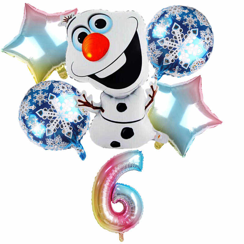 6 Pcs Olaf Foil Balon Snowman Elsa Anna Pernikahan Dekorasi Pesta Ulang Tahun Anak Mainan Bayi Shower Air Inflatable Balon Set