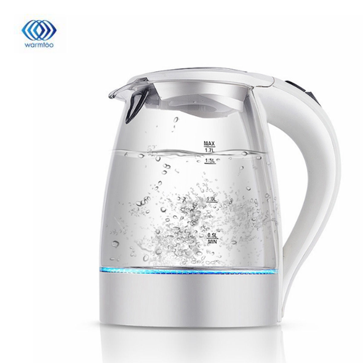 1.7L 2200W LED Illuminated Glass Kettle Electric Rapid Boil Cordless Electric Kettle Electric Kettle Teapot Smart Kettle Kitchen