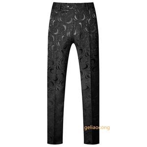 Жаккардовые новые стильные модные мужские деловые брюки на осень и весну, мужские высококачественные костюмы из чистого хлопка для отдыха, ...
