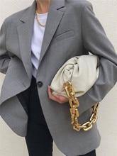 Sacs à main pour femmes, sacoche forme nuage, ravioli, avec chaîne épaisse, style rétro, pochette souple et pliante de designer, en bandoulière, matière cuir de vache, pochette, 2020