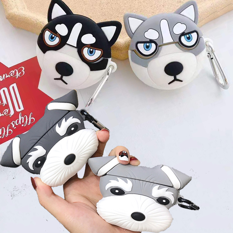 For Airpods Pro 3d Cute Cartoon Funny Husky Dog Puppy Case For Apple Airpods 3 Rena Snow Dogs Couple Wireless Earphone Cover Box Earphone Accessories Aliexpress