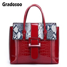 Gradosoo Patent Leather Handbags Women Panelled Serpentine  Shoulder Bags Female Luxury Tote For Famous Brand HMB633
